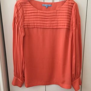 Antonio Melani coral pleated sleeve blouse